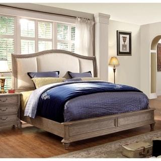 Furniture of America Koa Rustic Grey Solid Wood Panel Bed