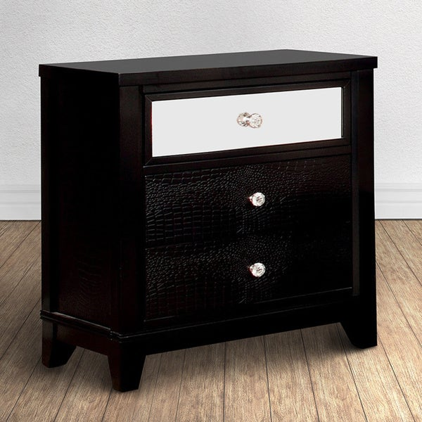 shop furniture of america divonne modern black 3 drawer nightstand free shipping today. Black Bedroom Furniture Sets. Home Design Ideas