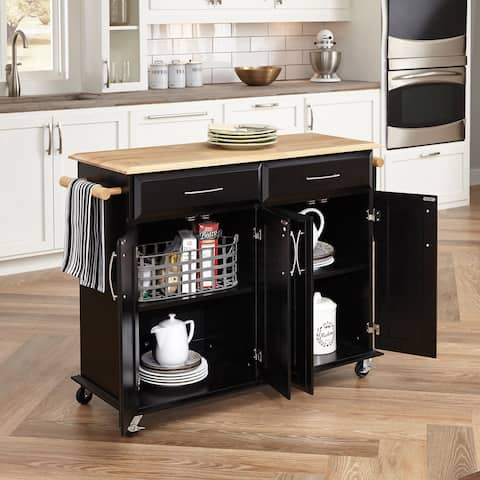 Porch & Den Eureka Black Wood with Natural Wood Top Kitchen Island Cart