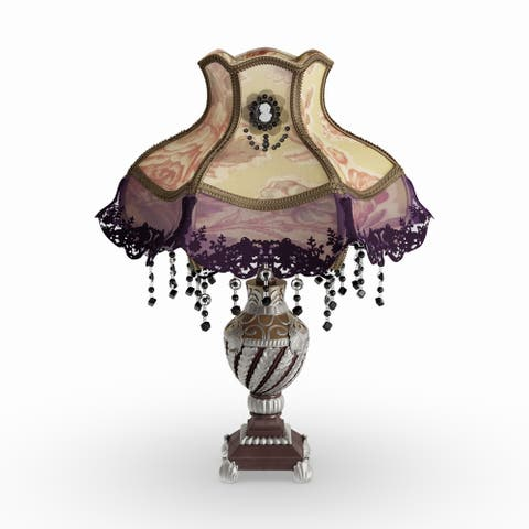 "Gracewood Hollow Lord 22"" Laced Jewel Victorian-Style Table Lamp - 15.5""L x 15.5""W x 21.5""H"
