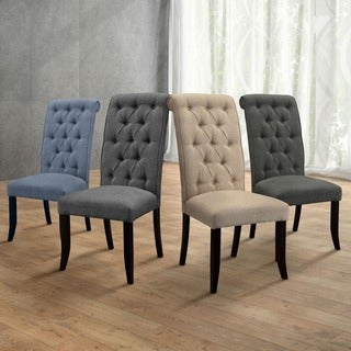 "Furniture of America Sheila Button Tufted Flax Dining Chairs (Set of 2) - 20""W X 28""D X 42""H (SEAT HT: 19 1/2"", SEAT DP: 17"