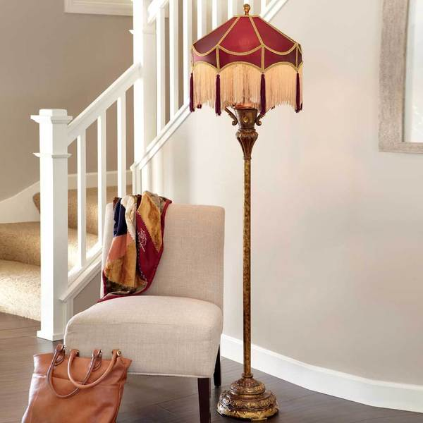 Gracewood Hollow Virginia Edwardian Burgundy & Gold Grand Floor Lamp
