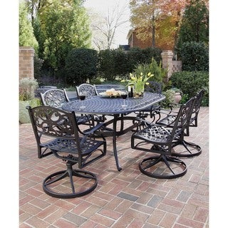 Havenside Home Fenwick 7-piece Dining Set 72 Oval Table with 6 Swivel Chairs (Black)