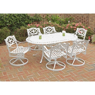 Havenside Home Fenwick 7-piece Dining Set 72 Oval Table with 6 Swivel Chairs (White)