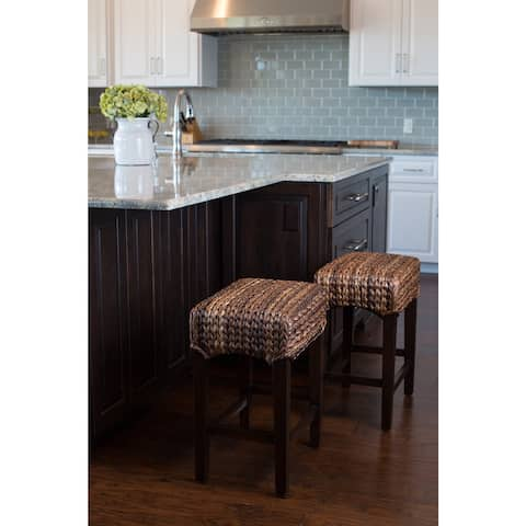 The Curated Nomad Fairway Sea Grass Backless Counter Stools (Set of 2)