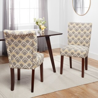 Patterned Parson-style Upholstered Side Chair (Set of 2)
