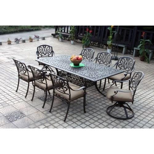 Havenside Home Wares Bronze Cast Aluminum Rectangular 9 Piece Dining Set
