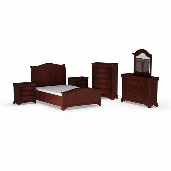 Gracewood Hollow Bujalski Cherry Queen Sleigh 6pc Bedroom Set