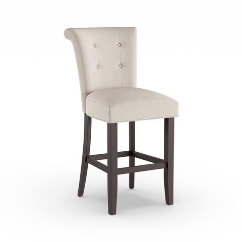 Copper Grove Milligin Wood Chair with Button-Tufted Linen Back