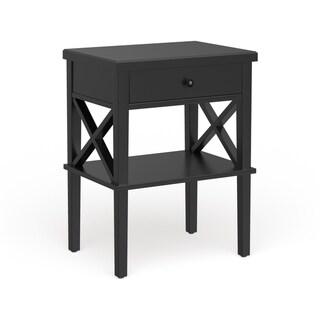 Copper Grove Castle Creek Wooden Nightstand with Lower Shelf (Black)
