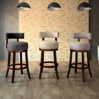 Gracewood Hollow Pullman Contemporary Fabric Nailhead Swivel Bar Stool (Set of 2)