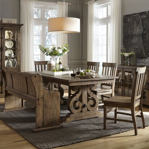 Gracewood Hollow Aldous Rectangular Wood Dining Table in Weathered Barley
