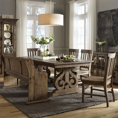 The Gray Barn Bartlett Rectangular Wood Dining Table in Weathered Barley