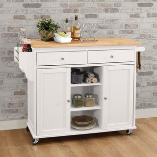 Copper Grove Dianthus White MDF Kitchen Cart