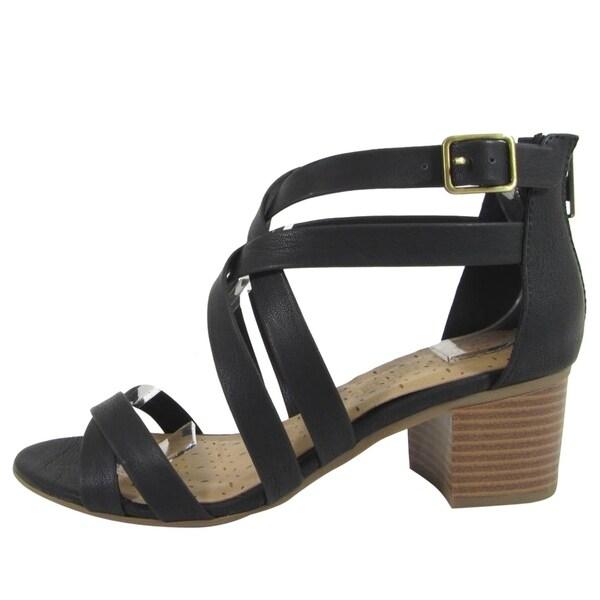 04ec972621d City Classified Women  x27 s Strappy Back Zip Stacked Block Heel Sandals
