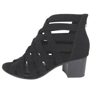 City Classified Women's Back Zip Peep Toe Stacked Heel Booties Sandal
