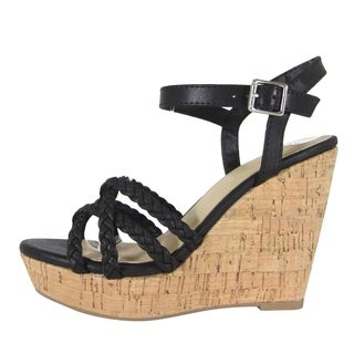 Delicious Women's Strappy Ankle Buckle Platform Wedge Heel Sandals