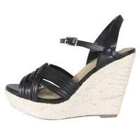Soda Women's Weave Strappy Ankle Buckle Wedge Heel Platform Sandal