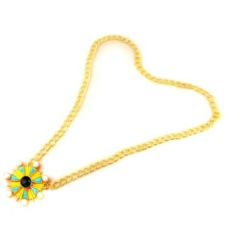 Orchid Jewelry 57.00 Carat Turquoise, Pearl and Green Glass Yellow Gold Overlay Fashion Necklace