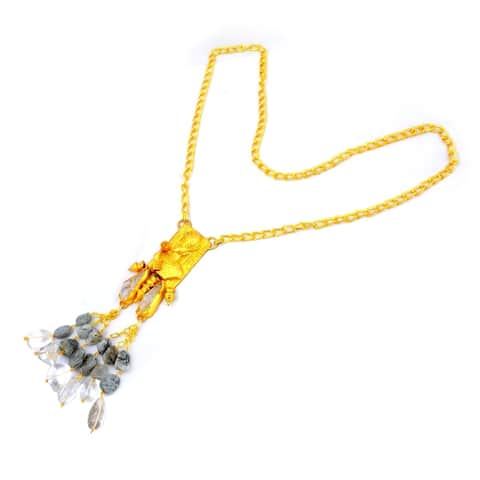 Crystal Quartz, Rutile Brass Fancy Fashionable Fashion Necklace by Orchid Jewelry