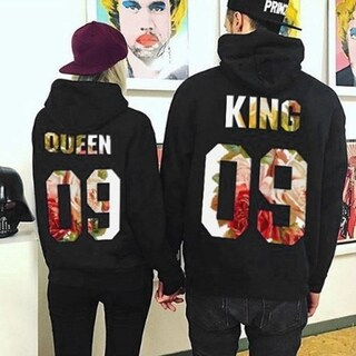 Lovers Casual Pullover QUEEN Letter Print Loose Hoodies Sweatshirt