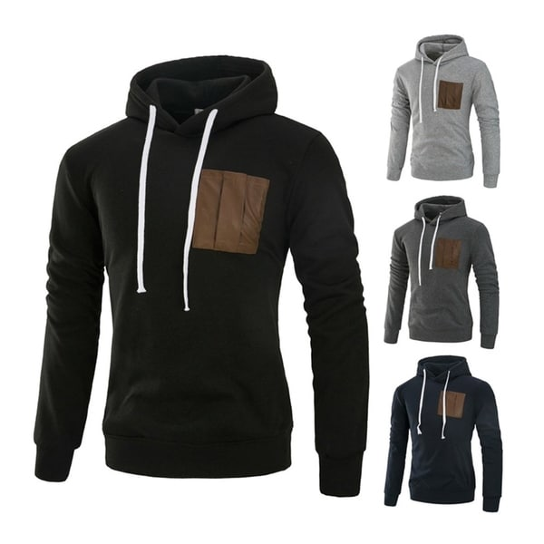 Fashion Long Sleeved Hoodies Patchwork Sweatshirt Pullovers for Man