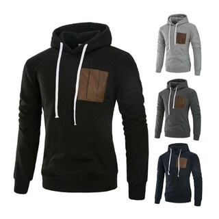 Fashion Long Sleeved Hoodies Patchwork Sweatshirt Pullovers for Man (3 options available)