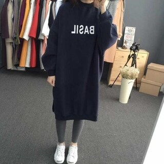 Plus Size Hoodies Long O-Neck Pullovers with Letter Print for Ladies