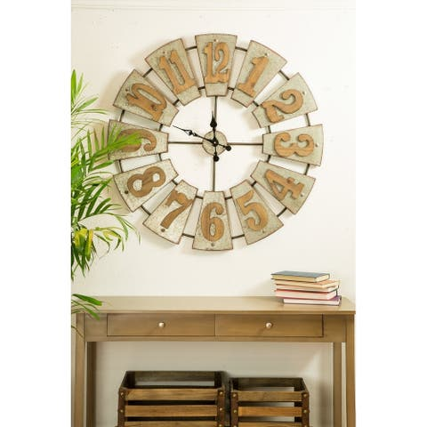 "Glitzhome Oversized 39""D Farmhouse Metal Wall Clock"