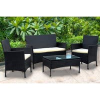 IDS Home Black Rattan Wicker 4-piece Patio Dining Set