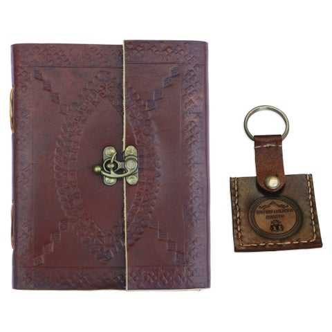 Medieval Deckled Edge Pages and Brass Clasp, Handmade Brown Embossed Leather Journal with Leather Key Fob