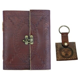 """Novelty Item : Deckled Edge Pages and Medieval Brass Clasp, Handmade Brown Embossed (5"""" x 7"""") Leather Journal"""