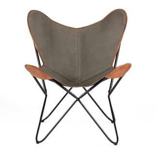Brevent Contemporary Grey Leather Trimmed Canvas/Iron Butterfly Chair