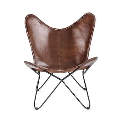 Montreux Iron and Leather Butterfly Chair