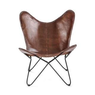 Montreux Iron Butterfly Chair with Real Leather Seat