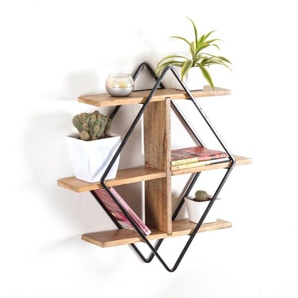 Shop Tignes Wall Shelf With Iron Frame And Mango Wood Shelves Free