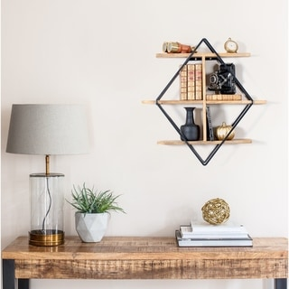 Tignes Wall Shelf with Iron Frame and Mango Wood Shelves