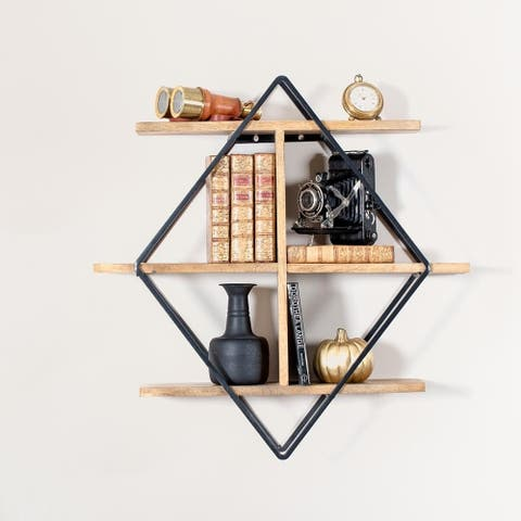 "Tignes Wall Shelf with Iron Frame and Mango Wood Shelves - 24"" x 5.75"" x 24"""