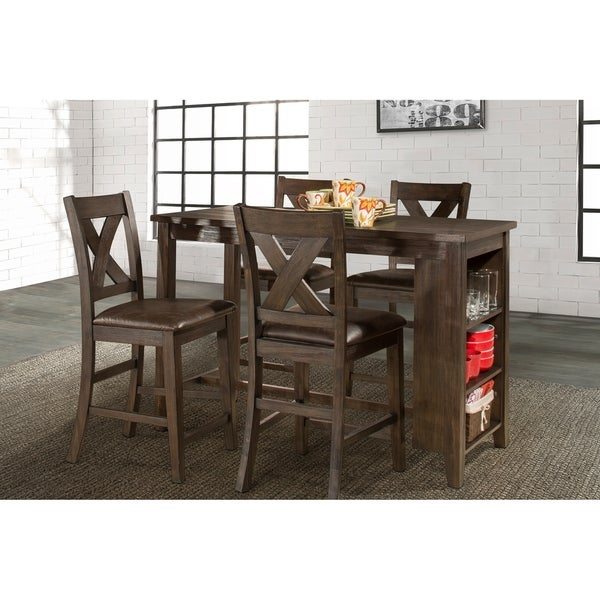 Spencer 5 Piece Counter Height Dining Set With X Back Counter Height Stools