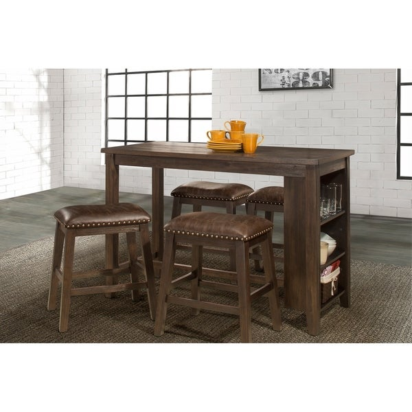 Spencer 5 Piece Counter Height Dining Set With Backless Counter Height  Stools