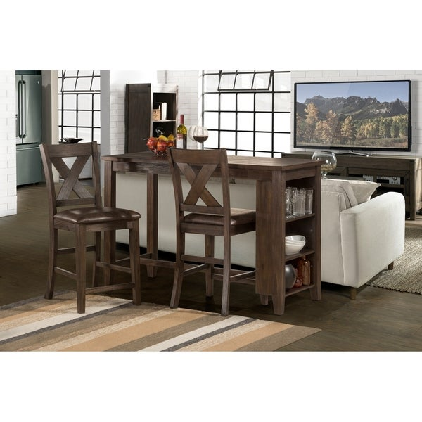 Spencer 3 Piece Counter Height Dining Set With X Back Counter Height Stools
