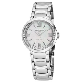 Baume & Mercier Women's MOA10184 'Promesse' Mother of Pearl Dial Stainless Steel Diamond Swiss Automatic Watch