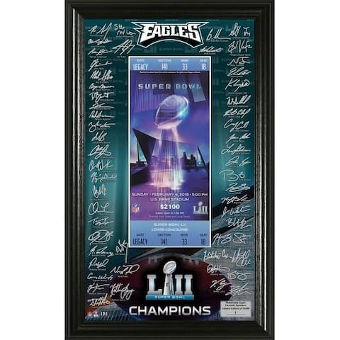 Philadelphia Eagles Super Bowl 52 Champions Signature Ticket Frame - Multi-color