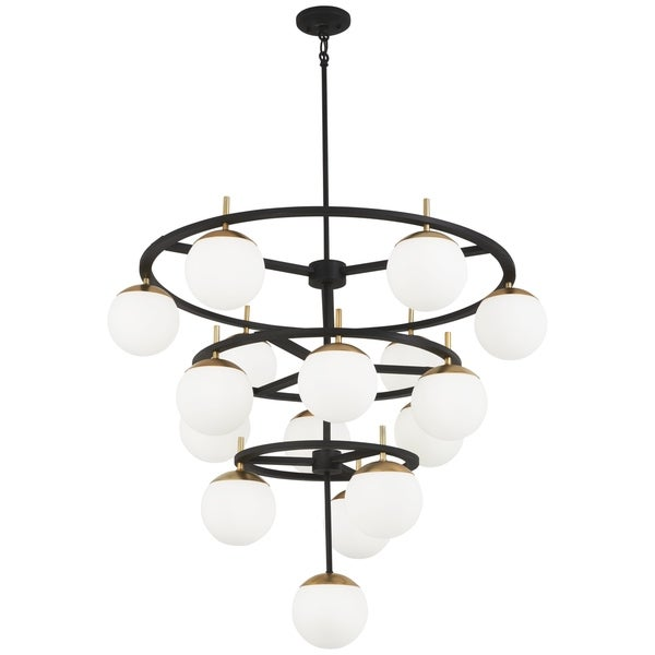 George Kovacs Alluria 75-Light Weathered Black/Gold Chandelier
