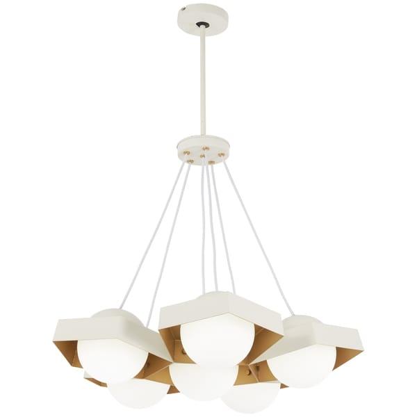 George Kovacs Five-O White/Gold Metal/Glass 1-light Textured Leaf LED Pendant