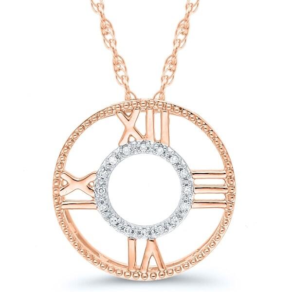 754e3c28f52f12 Shop Caressa 10k Rose Gold Diamond Accent Roman Numeral Compass ...