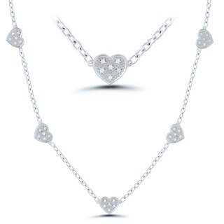 Caressa Sterling Silver 1/5CT.T.W Diamond Heart Station Necklace- 16""