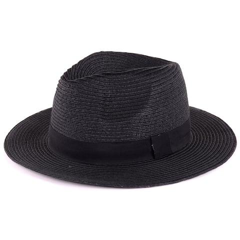 BYOS Summer Classic Straw Panama Fedora Sun Hat in Solid Color W/ Black Grosgrain Band Trim