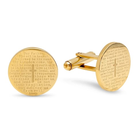 "Steeltime Men's Gold Tone Stainless Steel ""Our Father"" Prayer Round Cufflinks"