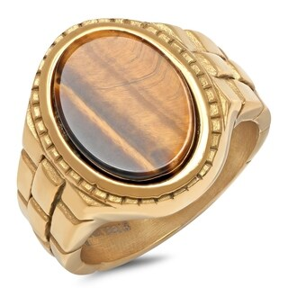 Steeltime Men's Gold Tone Stainless Steel Tiger Eye Ring with Brick Lined Accent